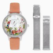 Set reloj Paradise de plata con circonitas y nobuk en coral y correa intercambiable de malla en plata